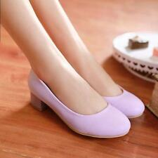 Womens Kitten Heels Pumps Ladies Slip On Casual Office Shoes Candy Color#Plus sz