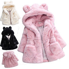 Cute Kids Baby Girls Warm Fur Rabbit Coat Hooded Thick Outerwear Dresses Jacket