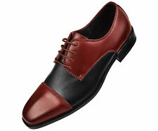 Amali Mens Burgundy + Black Smooth Two Tone Oxford Dress Shoe Style Palmero-175
