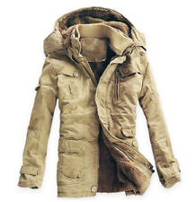 Mens Winter long Parka Warm fur lined hooded thicken Outwear Coat Jackets plus