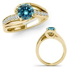 0.75 Ct Blue Diamond By Pass Solitaire Halo Bridal Fancy Ring 14K Yellow Gold