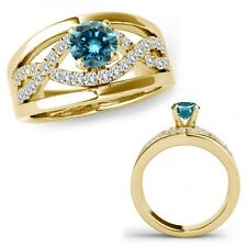 1.25 Ct Blue Diamond Halo Engagement Fancy Infinity Ring Band 14K Yellow Gold