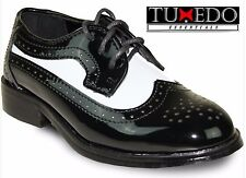 New Boys Two Tone Black White Classic Wing Tip Lace Up Dress Shoe Kids Tuxedo