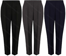 Ladies Womens Work Trousers Office Half Elasticated Stretch Waist Pockets Pants