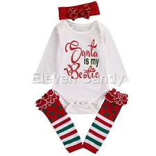 3pcs Infant Baby Girl Christmas Outfit Santa Romper Leg Warmers Tops Clothes Set