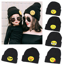 New Children Kid's Winter Beanie Warm Hat Crochet Emoji Earflap Knitted Warm Cap