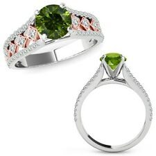 1 Ct Green Diamond Beautiful Solitaire Halo Wedding Ring Band 14K Rose Gold