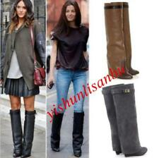 Winter Womens Leather Wedges High Heels Knee High Boots Pointy Toes Shoes US Sz