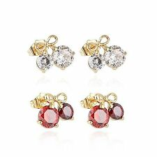 Korean Cherry Bow Big Crystal Stud Earrings Ear Earings Yellow Gold Filled