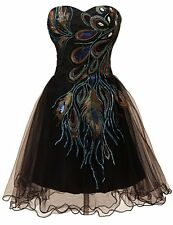 Sequins Strapless Peacock Prom  Party Evening Cocktail Dress