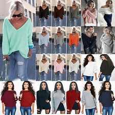 Mixed Women Oversized Long Sleeve Loose Knitted Sweaters Pullover Jumper Tops