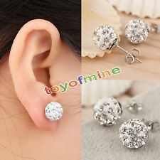 6mm 8mm 10mm 12mm Girls Sparkle Round Crystal Disco Ball CZ Beads Stud Earring