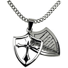 Courage Necklace 2 Piece Cross Shield, Joshua 1:9 Christian, Curb Chain