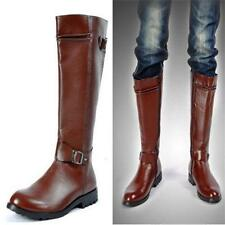 Mens Riding motorcycle military combat buckle strap pointed toe knee high boots