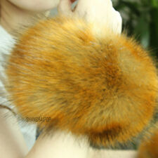 Pair of Lady Faux Fur Raccoon Wrist Cuff Band Wristbands Gloves Burgundy/Yellow