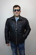 Black Real Lambskin Leather Puffer Padded Jacket Coat Bomber Biker XS-8XL NEW