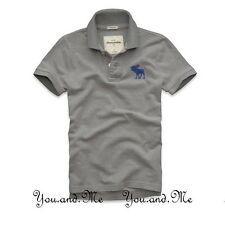 NEW ABERCROMBIE & FITCH KIDS A&F Boys Cotton Pop-Color Logo Polo Shirt Gray M-L