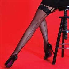 Silky Scarlet fishnet with back seam lace top seamer seamed stockings one size
