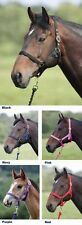 SHIRES HEADCOLLAR AND LEAD ROPE SET, RED, NAVY, PURPLE - PONY SIZE