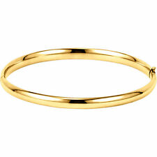 14K Gold 4.75mm Hinged Bangle Bracelets in Yellow, White, and Rose Gold!
