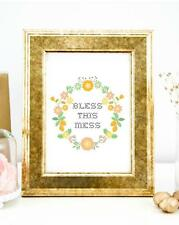 Bless This Mess Typography Wall Art Print Quote Art Print Home Office Decor