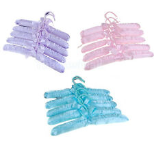 5x Satin Padded Closet Small Children Clothes Towel Coat Hook Hangers New