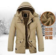 Men's Fur Lined Thicken Warm Winter Hooded Jacket Snow Casual Coat Outwear NEW