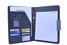A4 Zipped Leather Conference Folder Portfolio Organiser Calculator