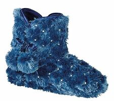 Zedzzz Womens Blue Faux Fur Pom-Pon Bootee Slippers UK 3-8 Only £9.99