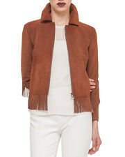 AKRIS Punto Jacket Goat Skin Suede Brown Fringe Full Zip Women's Sz 6 NWT $2490