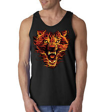 Wolf Flames Burning Smoking Fire Tank Top Sleeveless Shirt