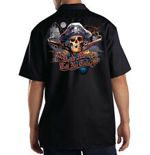 Dickies Black Mechanic Work Shirt Dead Men Tell No Tales Pirate Skull