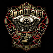 American Steel Biker Forever Motorcycle Chopper Engine T-Shirt Tee
