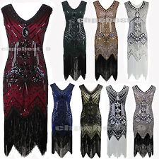 1920's Flapper Dress Great Gatsby 20s Fancy Beads Downton Fringe Tassels Costume