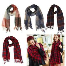 Women Winter Warm Tartan Plaid Checked Scarf Wrap Shawl Cape Long Pashmina
