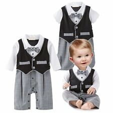 Baby Boy Wedding Christening Tuxedo Formal Suits Outfit Clothes NEWBORN-18M