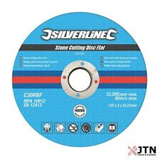 Silverline Stone Cutting Discs Flat 115mm, 125mm, 230mm - Angle Grinder Grinding