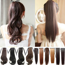 Straight wavy Blonde Ponytail Hair Extensions Claw/drawstring Clip In Hairpiece
