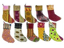 Stockings & Hangers Indian Handmade Recycled Vintage Kantha Christmas stockings