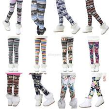 1-9Y Baby Girls Winter Warm Thick Stretch Leggings Fleece Lined Pants Trousers