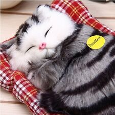 Plush Sleeping Cat Kitten Toys Doll Animal Sound Kids Baby Child Gift Stuffed