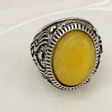 Vintage 316L Stainless Steel Vogue Design Mini Stone Ring New Size 8 9 10 11