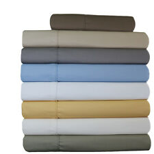 Queen Size 4-PC Wrinkle-Free 650 TC Solid Combed Cotton Blend Sheet Sets