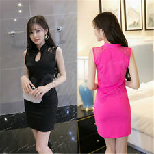 Chinese Women's Sexy Hollow Lace Dress Cheongsam QiPao Evening Party Dress