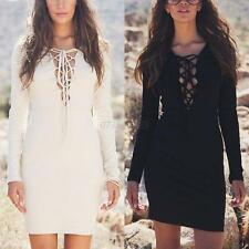 Women Sexy V-Neck Lace-Up Dress Long Sleeve Casual Party Cocktail Mini Dress New