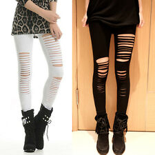 Stylish Women Hollow Out Stretch Stretchy Skinny Hole Soft Ripped Legging Pants