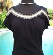 Cache $98 STRETCH PEEK-A-BOO SHOULDERS Top NWT S/M ELABORATE EMBELLISHED RUCHED