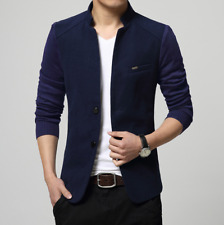 Stand Collar Jacket Mens Slim Fit Cashmere blend Blazer Casual Coat Tops
