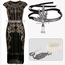 Vintage 1920's Flapper Dress Great Gatsby Fringe Party Sequin Beaded 20s Costume