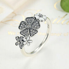 Solid 925 Sterling Silver White Enamel & Clear CZ Shimmering Bouquet Ring SZ 6-8